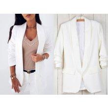 1adaffcc34bd Fashionweek Elegantné sako blejzer s riasenými rukávmi MD018   191 Biela