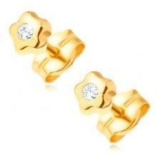 2f4954519 Šperky eshop zlaté náušnice drobný kvietok s čírym ligotavým diamantom  BT501.82