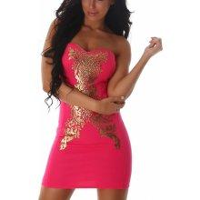 3964134ba94b Dámske šaty bez ramienok JELA LONDON so zlatou aplikáciou pink