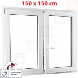 ALUPLAST Plastové okno biele dvojkrídlové bez stĺpika (štulp) pr 150 x 150 cm