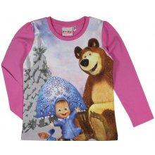 E plus M Dievčenské tričko Máša a Medveď - ružové