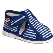papuče modrý pásik Detská