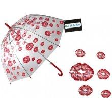 Priehľadný dáždnik - červené pery