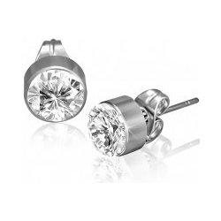 Šperky eshop Okrúhle náušnice z chirurgickej ocele číry brúsený zirkón cc174f25b10