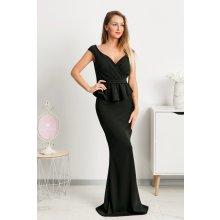 d1734f848a95 Čierne spoločenské šaty s peplum volánikom
