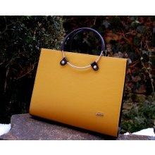 e9e8299147 Grosso kabelka hnedá tmavá kovové rúčky kufrík žltá horčicová