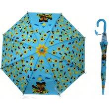 8a9799e9d Detský dáždnik vystreľovací palicový svetlo modrý so slnečnicami