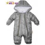 Baby Nellys Kombinézka s kapucňu Lux prošívaná sivý