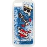 Púzdro KARL LAGERFELD Hard Captain Karl Liquid Glitter iPhone 7/8 modré