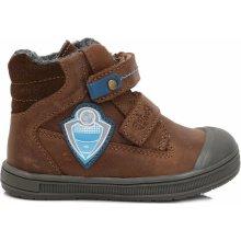 Ponte 20 Chlapčenské kožené topánky s futbalovým logom hnedé 0209ee5e9f6
