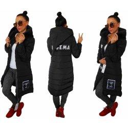 Fashionweek Prešívaný dámsky kabát bunda s kapucňou LONG TOP01A1 Čierna 5be62609dd4