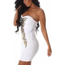 e1b1a661173d Dámske šaty bez ramienok JELA LONDON so zlatou aplikáciou biela