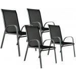 Sada 4 x zahradní židle stohovatelná s vysokým opěradlem OEM D29331
