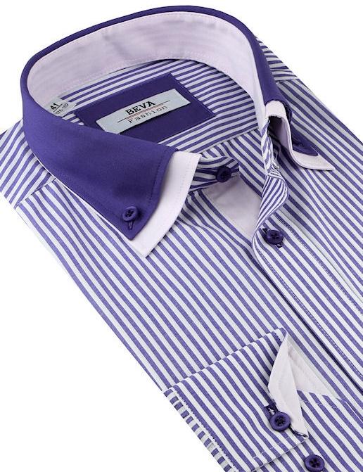 883341cefcca Pánska košeľa Beva Fashion Fialovo-biela prúžkovaná košeľa (slim ...