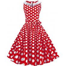Retro šaty 1950 s bodkami (SWING1 style) červené