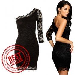 Recenzie Sexi čierne čipkované šaty s jedným rukávom - Heureka.sk 96ea2122abd