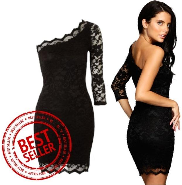 Recenzie Sexi čierne čipkované šaty s jedným rukávom - Heureka.sk 0c8280fff8b