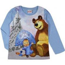 E plus M Dievčenské tričko Máša a Medveď - modré