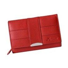 Mercucio Červená kožená peňaženka s mincovníkom zvonku