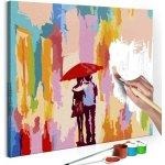 Maľovanie podľa čísiel Couple Under An Umbrella Pink Background