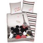 HERDING Obliečky Mickey a Minnie Paříž bavlna 140x200 70x90