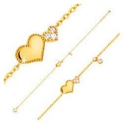 39efadf26 Šperky eshop náramok zo žltého zlata lesklé a trblietavé srdiečko, visiaci  číry zirkónik GG137.