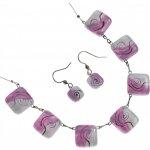 súprava sklenených šperkov ružová 1102