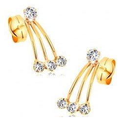 Šperky eshop zlaté puzetové náušnice úzke pásiky a okrúhle zirkóny čírej  GG177.49 ec19ea85a03
