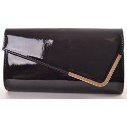 e9a322a28de dámska lakovaná spoločenská kabelka so zlatým lemom čierna ...