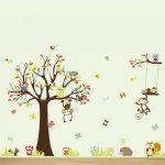 """Sun Wall Sticker Samolepka na stenu """"Strom so sovičkami"""" 234 x 150 cm"""