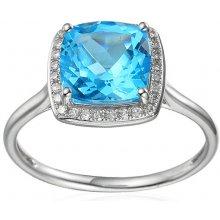 cc036bf9a iZlato Forever Prsteň z bieleho zlata s topásom a diamantmi 0.100 ct  Liriene 2 IZBR295AT