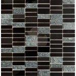 Premium Mosaic Stone Mozaika nerez.čierna 4,8x1,5 - MOS4815BK