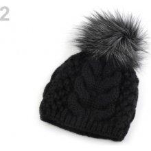 8610b90a6 Zimná pletená čiapka s brmbolcom čierna 1ks
