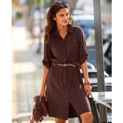Blancheporte Košeľové šaty na gombíky čokoládová alternatívy ... 939a86cfaf8