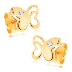 0c91cfa54 Šperky eshop Diamantové zlaté náušnice lesklý motýľ s vyrezávanou časťou,  číry briliant BT500.12