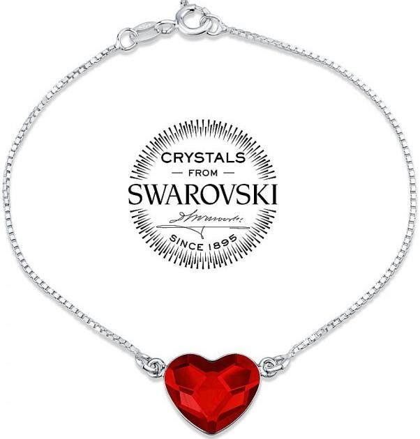 2e820134a Silvego strieborný náramok so Swarovski Crystals srdce červené VSW063B od  17,60 € - Heureka.sk