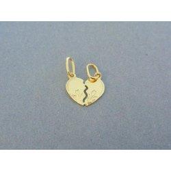 cb5e7dc50 Zlatý prívesok vzorovaný prívesok srdiečko žlté zlato pre dvoch DI055Z