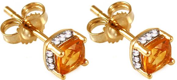 272fec479 iZlato Design zlaté náušnice s briliantmi a citrínmi KU321CT ...