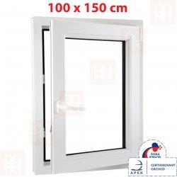 Plastové okno | 100 x 150 cm (1000 x 1500 mm) | biele | otváravé aj sklopné | pravé | 6 komôr