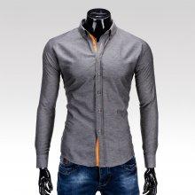 Ombre Clothing Jednofarebná pánska košeľa Sheldon grafitová