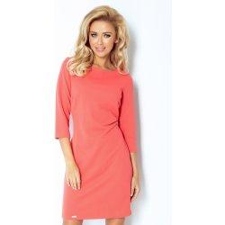 Korálovo červené šaty z pevnej látky 107-1 od 36 d689cd9e8a2