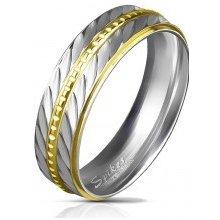 Šperky eshop Dvojfarebná obrúčka z ocele 316L aed0790fd42
