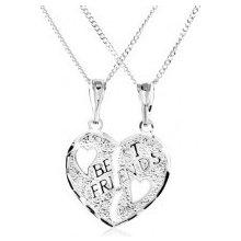 Šperky eshop Náhrdelník zo striebra, dvojprívesok, prelomené srdce, nápis Best Friends SP10.08