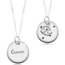 03225fa4c Šperky eshop Strieborný náhrdelník a okrúhly prívesok znamenie rak SP18.05