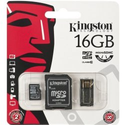 Kingston microSDXC 16GB Mobility Kit G2 + adaptér + USB čítačka MBLY10G2/16GB