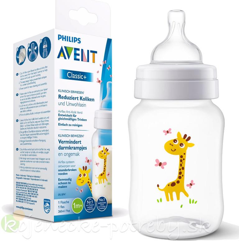 Dojčenská fľaša Philips Avent fľaša 260ml Klasik žirafa ... cdac96fb638