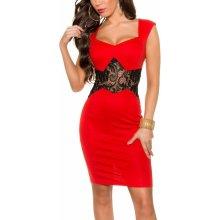 Dámske púzdrové šaty KouCla s čipkou červená 7feaba5fbc9