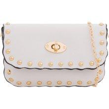 625cac5599 listová kabelka so zlatými perlami K-JD2301 biela