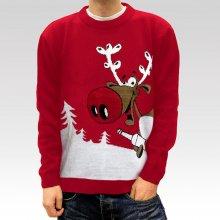 Pánsky vianočný sveter so sobom Drunk Reindeer červený