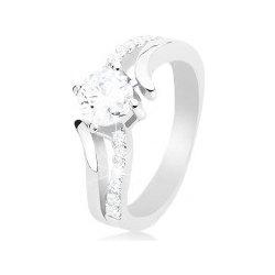 fb70d4738 Šperky eshop Strieborný prsteň 925 rozdvojené zvlnené ramená okrúhly číry  zirkón K09.06